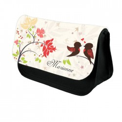 Pretty love birds  Personalised Make up Case.