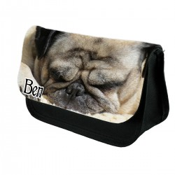 Personalised Cute Sleeping Pug Pencil Case / Makeup bag