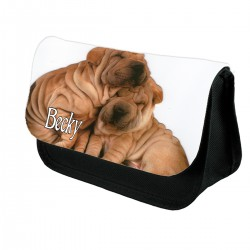 Personalised Cute Puppys Pencil Case / Makeup bag