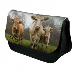 Cows Personalised Make Up / Cosmetic Bag / Pencil Case For School Great Fun Gift