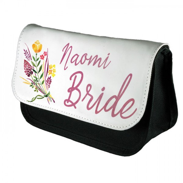 A Pretty Floral Personalised Make Up Bag Perfect Gift Idea for Her. Wedding Favours Birthdays Christmas.