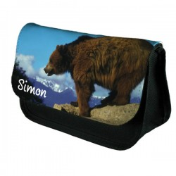 Grizzly Bear Personalised Make Up / Cosmetic Bag / Pencil Case For School Great Fun Gift