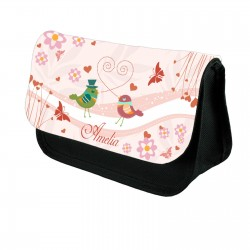 Very Cute Birds On This Make Up Bag Personalised Make Up / Cosmetic Bag