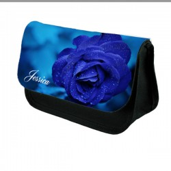 Blue Rose Personalised Make Up Bag Perfect Gift Idea for Her. Favours Birthdays Christmas.