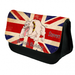 Bull Dog Union Jack Pencil Case For School, Great Christmas Gift