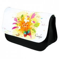 Beautiful Yellow Floral Design Make Up Bag Personalised / Cosmetic Bag Perfect Gift Idea for Her. Favours Birthdays Christmas.