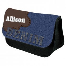 Denim Effect Make Up Bag Personalised / Cosmetic Bag Perfect Gift Idea for Her. Favours Birthdays Christmas.