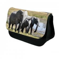 Elephants Personalised Make Up / Cosmetic Bag / Pencil Case For School