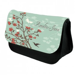 Green Floral Make Up Bag Personalised / Cosmetic Bag Perfect Gift Idea for Her. Favours Birthdays Christmas.