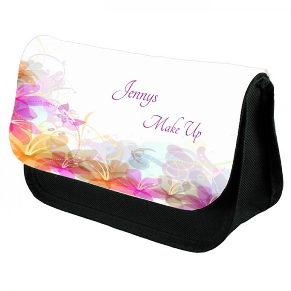 Colourful Pastel Floral Make Up Bag Personalised / Cosmetic Bag Perfect Gift Idea for Her. Favours Birthdays Christmas.