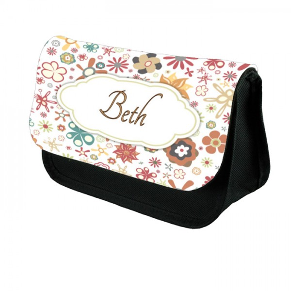 Colourful Floral Bordered For Your Message.  Personalised Make Up Bag Perfect Gift Idea for Her. Wedding Favours