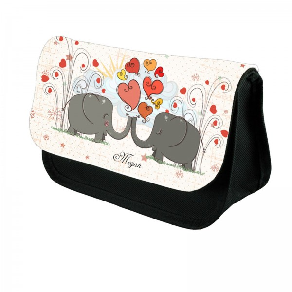 Very Cute Elephants In Love On This Make Up Bag Personalised Make Up / Cosmetic Bag