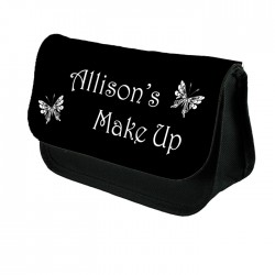 Black & White Butterfly  Make Up Bag Personalised / Cosmetic Bag Perfect Gift Idea for Her. Favours Birthdays Christmas.