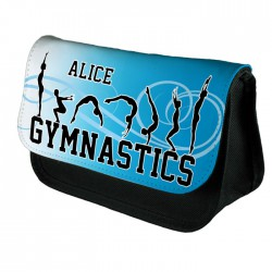 Personalised Gymnastic's Blue Tumble Make up case, Cosmetic bag, Pencil Case.
