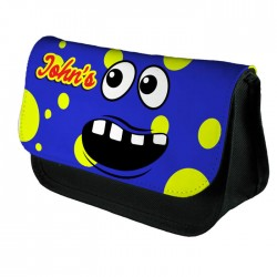 Personalised Funny Face Blue Spotty Stationary Case, Make up Bag. Great Gift For School