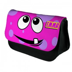 Personalised Funny Face Pink Spotty Stationary Case, Make up Bag. Great Gift For School