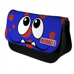 Personalised Funny Face Blue & Red Spotty Stationary Case, Make up Bag. Great Gift For School