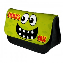 Personalised Funny Face Light Green Spotty Stationary Case, Make up Bag. Great Gift For School