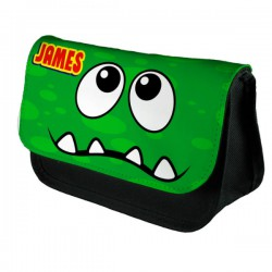 Personalised Funny Face Green Spotty Stationary Case, Make up Bag. Great Gift For School
