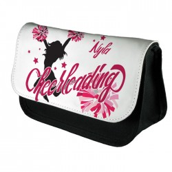 Personalised Cheerleader, Pink Design Make up case, Cosmetic bag, Pencil Case.