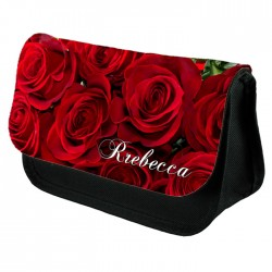 Red Roses Make Up Bag Personalised / Cosmetic Bag Perfect Gift Idea for Her. Favours Birthdays Christmas.