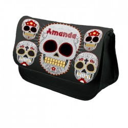 Personalised Sugar Skull  Design Make up case, Cosmetic bag, Pencil Case.