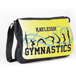 Gymnastic Tumble Yellow Personalised Gift Messenger / School / Sleepover Bag.