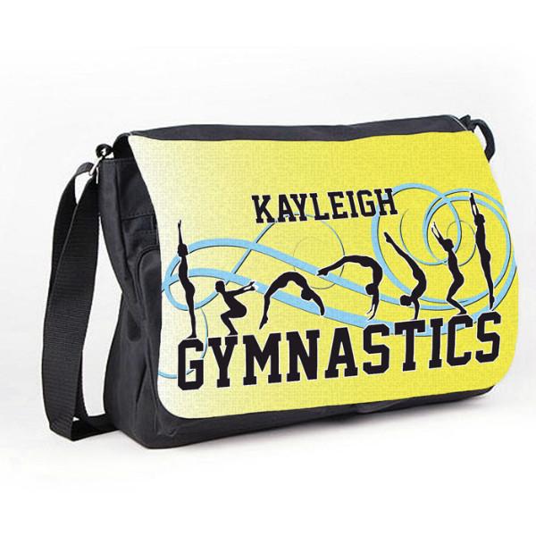 Gymnastic Tumble Yellow Personalised Gift Messenger / School / Sleepover Bag.