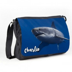 Great White Shark Personalised Gift Messenger / School / Sleepover Bag.