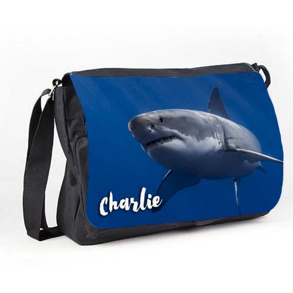 Great White Shark Personalised Gift Messenger / School / Sleepover Bag.
