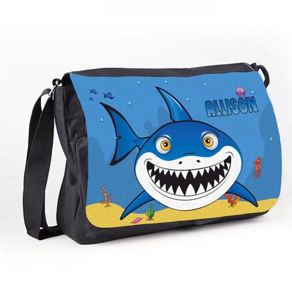 Cartoon Shark Personalised Gift Messenger / School / Sleepover Bag.