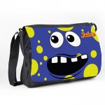 Personalised Funny face Blue Spotty Messenger / School / Sleepover Bag.