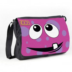 Personalised Funny face Pink Spotty Messenger / School / Sleepover Bag.