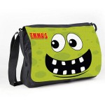Personalised Funny face Light Green Spotty Messenger / School / Sleepover Bag.