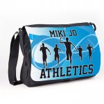 Athletics Blue design Black Personalised Gift Messenger / School bag  / collage Bag.