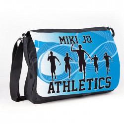Athletics Blue design Black Personalised Gift Messenger / School bag  / collage Bag.