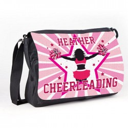 Cheerleading Star Pink Teen Personalised Gift Messenger / School / Sleepover Large Bag.