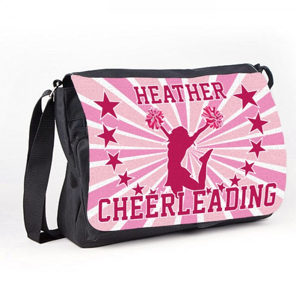 Cheerleading Star White Personalised Gift Messenger / School Teanager's Bag.