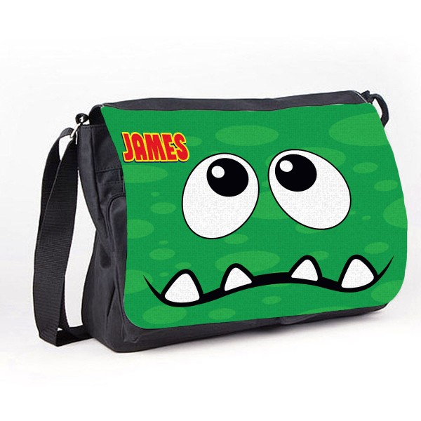 Personalised Funny face Green Spotty Messenger / School / Sleepover Bag.