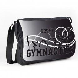 Gymnastic Tumble Black Personalised Gift Messenger / School / Sleepover Bag.