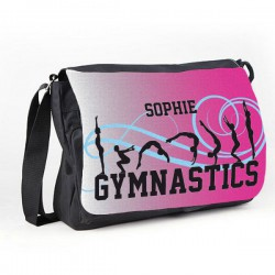 Gymnastic Tumble Pink Personalised Gift Messenger / School / Sleepover Bag.