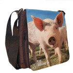 Funny Pig Personalised Gift Handbag, Small Messenger, School, Sleepover Bag.