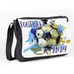 Football Personalised Gift Messenger / School / Sleepover Bag. Colourful Grunge Stlye