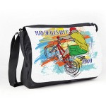 Mad BMX Stunt Personalised Gift Messenger / School / Sleepover Bag. Colourful Grunge Stlye
