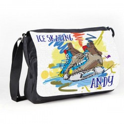 Ice Skating Personalised Gift Messenger / School / Sleepover Bag. Colourful Grunge Stlye