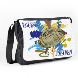 Rugby Personalised Gift Messenger / School / Sleepover Bag. Colourful Grunge Stlye