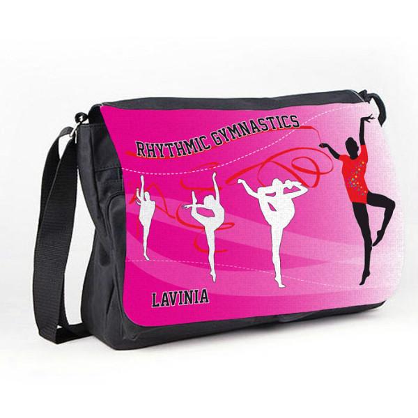 Rhythmic Gymnastic Tumble Black Personalised Gift Messenger / School / Sleepover Bag.
