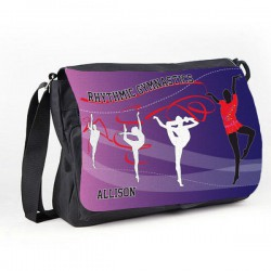 Rhythmic Gymnastic Purple Tumble Black Personalised Gift Messenger / School / Sleepover Bag.