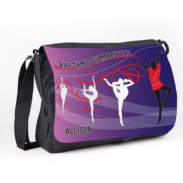 Rhythmic Gymnastic Purple Tumble Black Personalised Gift Messenger / School / Sleepover Bag.