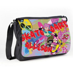 Skateboard Girl, Fun design On This Bag Personalised Gift Messenger / School / Sleepover Bag.